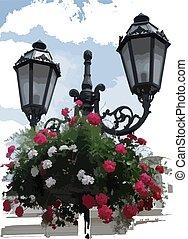 Lantern with Hanging Baskets - Vector Illustration
