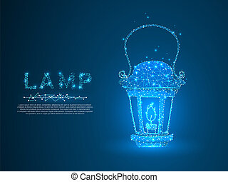 Lantern with the candle. Polygonal space low poly with connecting dots and lines. Light in the dark concept. Connection wireframe structure. Vector on dark blue background