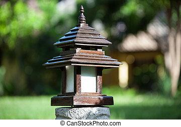 Lantern wooden pole