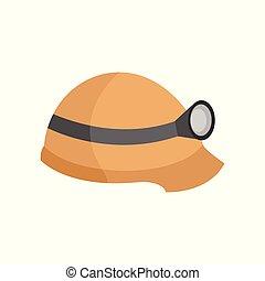 lanterna, capacete, gráfico, ilustração, vetorial, segurança
