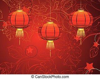 lanterna cinese, con, fiori