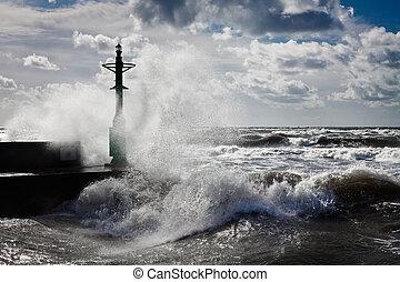 lanterna, e, tempestade, em, báltico