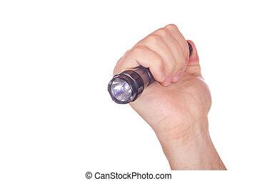 lanterna, pointed, mão