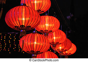 lanternas, chinês, vermelho