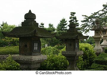 lanternas, -, horyuji, templo, japão
