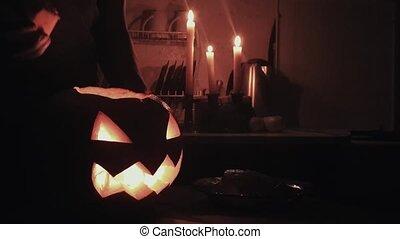 lanterne, autour de, brûlé, halloween, o, sombre, cric, bougie, flotter, 4k, flotte, cuisine