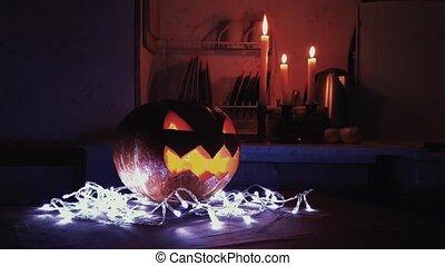 lanterne, brûlé, halloween, o, sombre, cric, bougie, table, cuisine, 4k