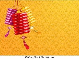 lanterne carta, cinese, fondo