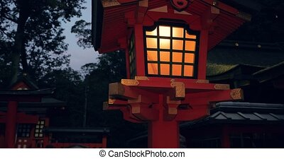 lanterne, nuit, style, traditionnel, japonaise