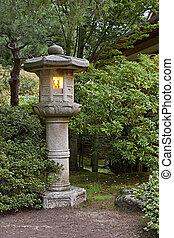 lanterne pierre, à, jardin japonais, 2