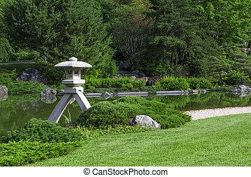 lanterne pierre, japonais jardin