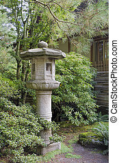 lanterne pierre, jardin, paysage, japonaise