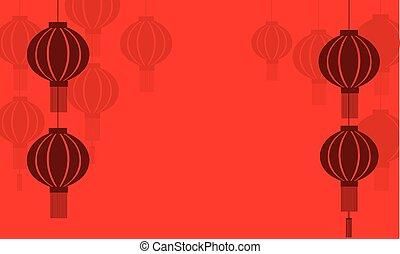 lanterne, vettore, silhouette, fondo