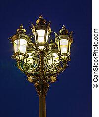 lanterne, vieux, nuit