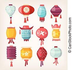 lanternes papier, chinois, pendre