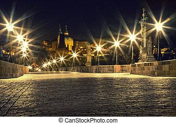 lanternes, pont, prague, charles