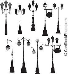 lanternes, silhouettes, ensemble, rue, retro