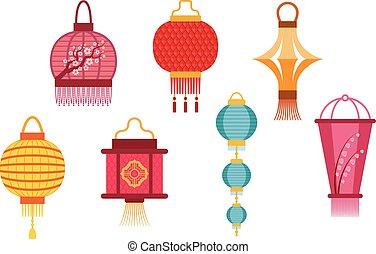 lanternes, vecteur, illustration., chinois