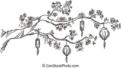 lanterns, дерево, филиал, китайский
