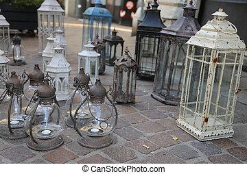 lanterns and lights for sale at flea market - antique...