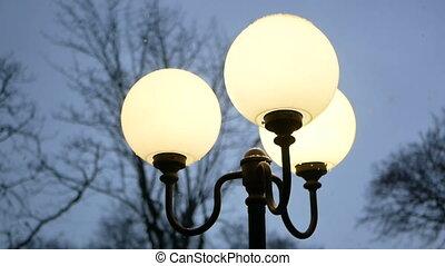 Lanterns evening snowfall - Lanterns in evening park....