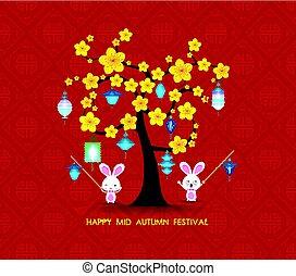 lanterns., fiesta, medio, saludo, otoño, conejo, naipe, feliz