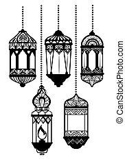lanterns hanging of ramadan kareem