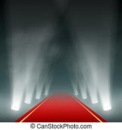 Lanterns illuminate the red carpet.