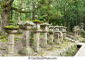 Lanterns in Nara - Way leading to a shinto shrine...