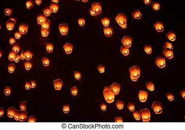 Lanterns in the night sky at the 2017 Pingxi Sky Lantern Festival in Taiwan
