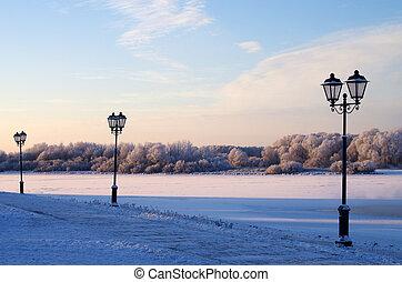 Lanterns on the promenade in Veliky Novgorod, Russia