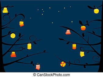 Lanterns on the tree and night sky