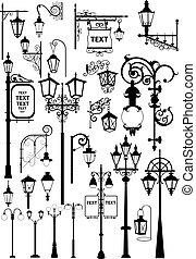 Lanterns - Vector illustration of retro and modern street ...