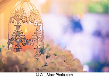 lanterns with candle in wedding stage decoration . - ...