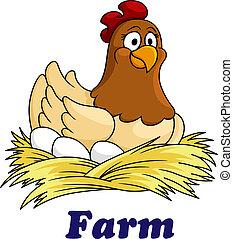 lantgård, ägg, emblem, höna, sittande
