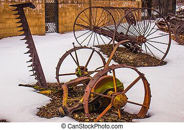 lantgård, årgång, utrustning, vinter, snö