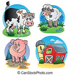 lantgård, 1, olika, djuren