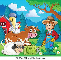 lantgård, 9, tema, djuren, avbild