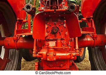 lantgård, baksida, traktor