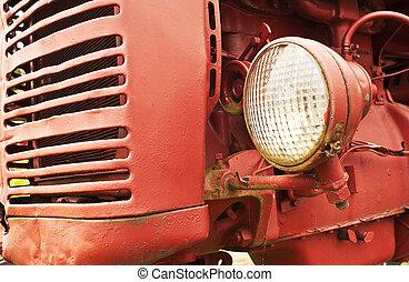 lantgård, främre del, gammal, traktor