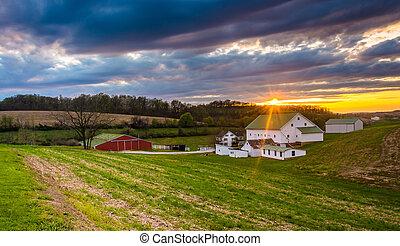 lantgård, grevskap,  över,  Pennsylvania, solnedgång,  York, lantlig