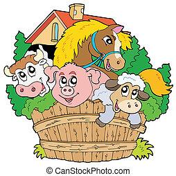 lantgård, grupp, djuren