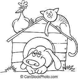 lantgård, kolorit, djuren, bok, lycklig