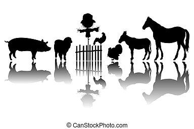 lantgård kreatur, silhouettes
