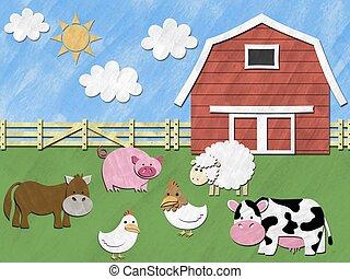 lantgård kreatur, stå, framme av, stallplan, på, solig dag