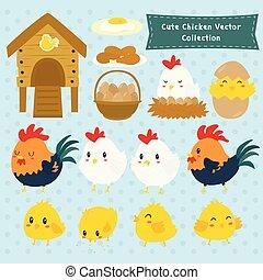 lantgård, kycklingarna, söt, vektor, kollektion