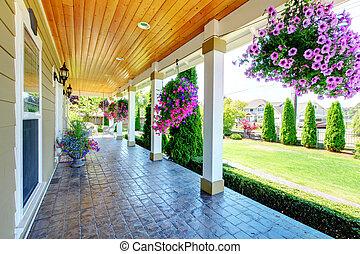 lantgård, land, porch., amerikan, lyxvara, hus