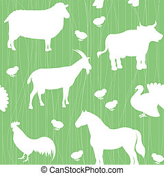 lantgård, mönster, silhouettes, djuren, seamless