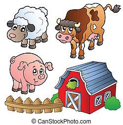 lantgård, olika, djuren, kollektion