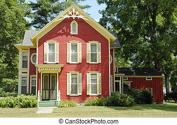 lantgård, röd, hus